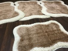 ROMANY GYPSY WASHABLES TRAVELLERS MATS FULL SET OF 4 X NEW BEIGE-CREAM 80X120CM